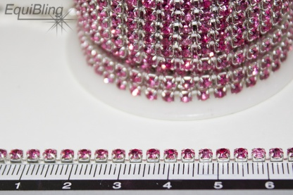 3mm strassketting roze